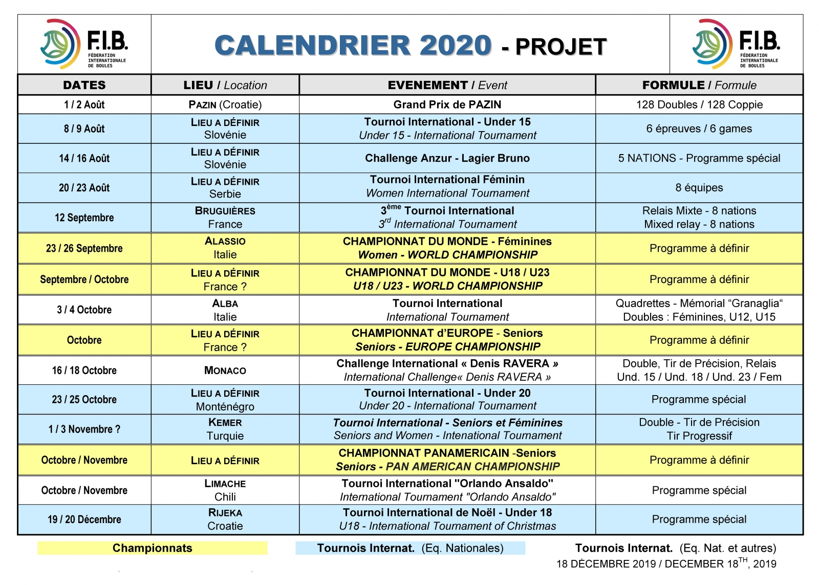 Le Calendrier 2020 est disponible   Fédération Internationale de