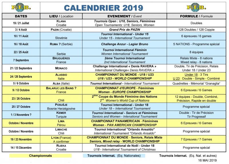 Calendrier 2019 f d ration internationale de boules - Calendrier coupe d europe foot ...