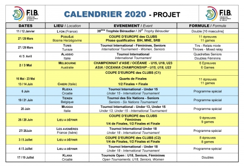 Calendrier Petanque 2021 Le Calendrier 2020 est disponible   Fédération Internationale de